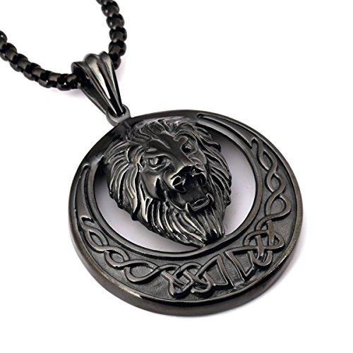 nyuk da uomo testa di leone Hip Hop ciondolo collana lunga in oro/argento/nero, Lega, colore: Black, cod. W-1933