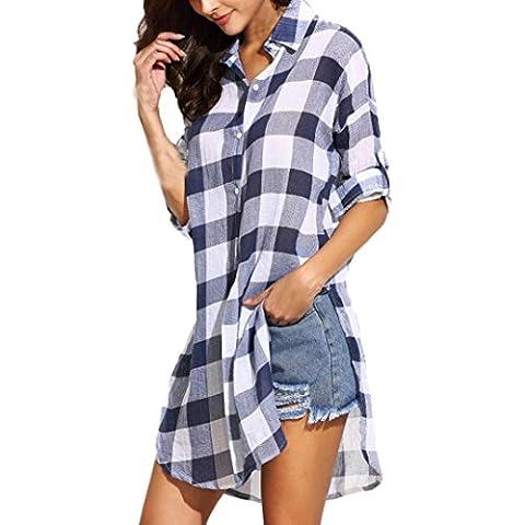 FEITONG Mujeres señora Loose Manga larga Tela escocesa ocasional de la camisa de la blusa de las tapas
