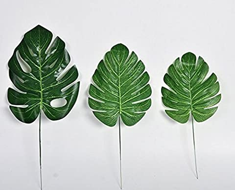 URGrace 30Pcs 3 verschiedene Größen-künstliche Blatt-tropische Palme verlässt Simulations-Blatt für hawaiisches Luau Strand-Thema-Partei-Schreibtisch-Dekorationen Haus-Garten-Dekor