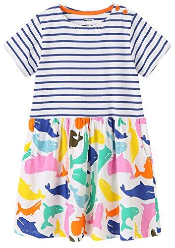 Kaily Mädchen Baumwolle Freizeit kurze Ärmel Streifen T-shirt Kleid (154Navy,3T) (- Orange-streifen Leichte)