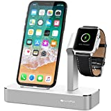 iVAPO Apple Watch und iPhone Ladestation Apple Watch Ständer für Apple Watch Series 2/ Apple Watch Series 3/ Apple Watch Series 3 with Cellular/ Apple Watch Series 1/ Apple Watch Nike + und iPhone 8, iPhone 8 plus, iPhone X, iPhone 6 Plus, iPhone 6, iPhone 7 Plus, iPhone 7, iPhone SE, iPhone 5 (ohne Kabel)(Silber)