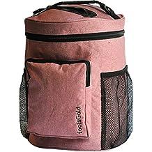 foolsGold Pro Fácil llevar ranura doble bolsa para tejer lana e hilados con 2 secciones de organizador y bolsillo con cremallera - Rosas