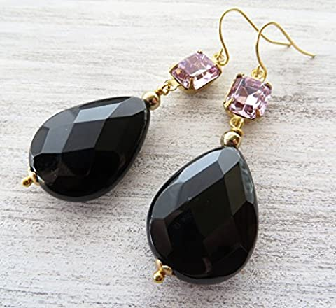 Black onyx earrings, lavender vintage cabochon earrings, teardrop earrings, gemstone earrings, wedding jewelry