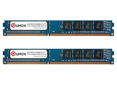 240 Pin Dimm Lp (QUMOX 8GB (4GBx2) 1600 DDR3 4 GB PC3-12800 DIMM PC3 Arbeitsspeicher RAM Speicher 240 CL11 Stift)