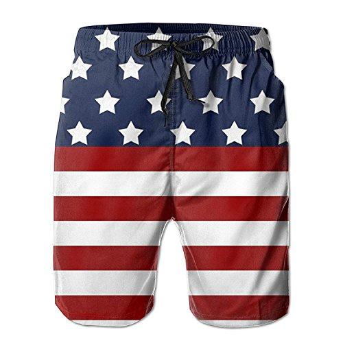 Star Flag Star Flag Long Tropical Print Beach Shorts Quick Dry Fashion for Men Boys Juniors Swim Trunk with Pockets X-Large