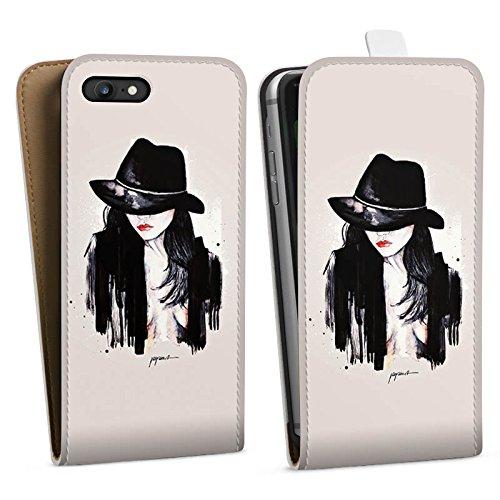 Apple iPhone X Silikon Hülle Case Schutzhülle Frau Hut Zeichnung Downflip Tasche weiß