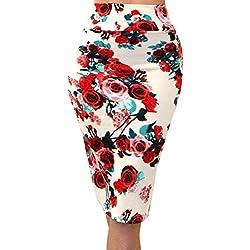 Gladiolus Mujer Faldas De Tubo Falda Lapiz Cintura Elástica Longitud De La Rodilla Impresión Floral #95 / Beige M