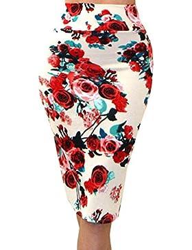 Mujer Faldas De Tubo Falda Lapiz Cintura Elástica Longitud De La Rodilla Impresión Floral #95 / Beige M