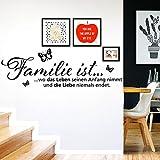 Grandora W970 Wandtattoo Spruch Familie ist… I schwarz 58 x 19 cm I Schmetterlinge Wohnzimmer Zitat Wandaufkleber Wandsticker