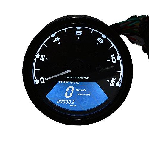 TurnRaise Universal 12000RMP LCD Digitaltacho Tacho Kilometerzähler Motorrad-1-4 Zylinder