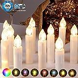 CCLIFE 20/30/40er LED Kerzen RGB Bunt Weihnachtsbaumkerzen weihnachtskerzen Christbaumkerzen Kabellos mit Fernbedienung Timer, Farbe:Beige, Größe:20er