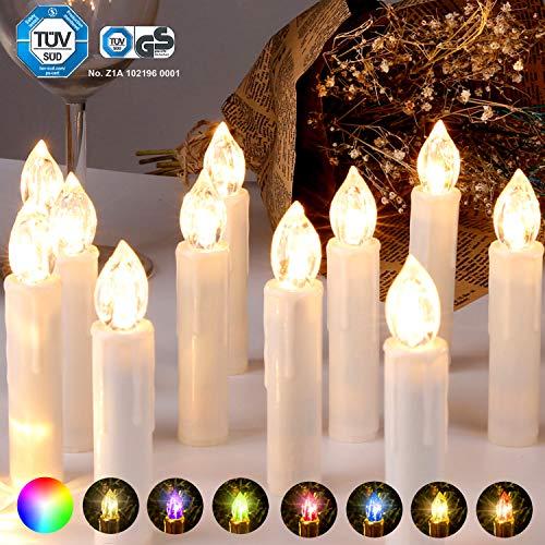 CCLIFE 20/30/40er LED Kerzen RGB Bunt Weihnachtsbaumkerzen weihnachtskerzen Christbaumkerzen Kabellos mit Fernbedienung Timer, Farbe:Beige, Größe:20er -