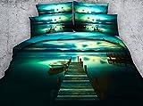 HUANZI Polyester Doppel Bettbezug Set Holzbrücke am Meer 3D-Druck Muster Bettwäsche Set mit Kissenbezug, 200 * 220