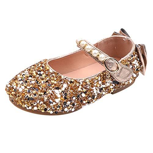 Tanzschuhe Kleinkind Schuhe/Dorical Kinderschuhe Mädchen Kristall Bowknot Pearl Ballerinas Schuhe T-Strap Casual Schuhe Lauflernschuhe Mädchen Prinzessin Party Fashion Schuhe 26-36 EU(Gold,28 EU)