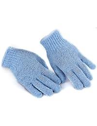 SODIAL(R) Paire Gants De Massage Friction Bleu Pour Douche Bain