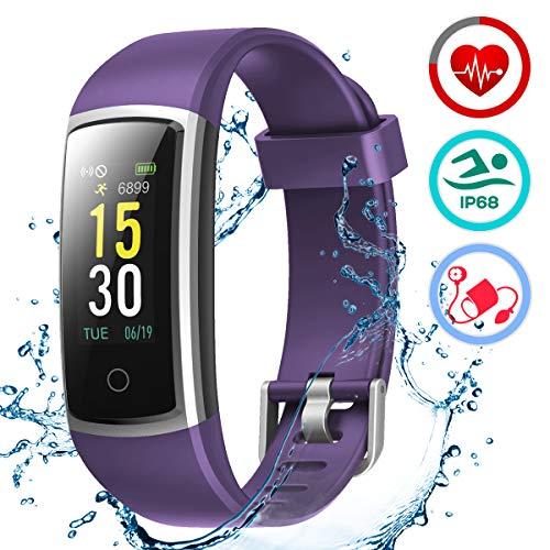 LATEC Fitness Armband mit Pulsmesser, IP68 Wasserdicht Fitness Trackers Farbbildschirm Aktivitätstracker Fitness Uhr Smartwatch Pulsuhren Blutdrucküberwachung Schlafmonitor Schrittzähler Anruf SNS SMS -