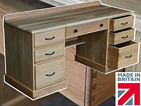 100% Solid Oak Desk,Handcrafted Double Pedestal Writing Desk with Filing Drawers. Heartland Oak Range, No Flat Packs, No Assembly (TPDOK18)
