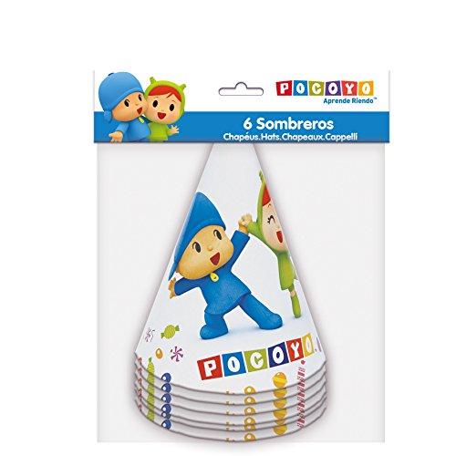 Verbetena, 016001518, pack 6 sombreros fiesta Pocoyo y Nina, producto de carton