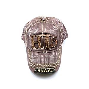 Hawaii-Mapa-EmbroideRojo-HI-5-Lnea-dorada-Sombrero-de-color-slido-Gorra-en-marrn