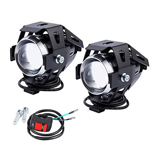 2 PCS Fari Moto Faretto Anteriore U5 LED con Interruttore On Off Fanale Lampada Universale 3000 LM 125 W per Moto Auto Bici Camion B