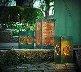 Frank Flechtwaren, 229512: Metall-Windlicht 3er Set Mandala schimmernd lackiert in trendigen Farben und mit herausnehmbaren Halterungen für Kerzen
