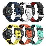 MoKo [6 pezzi Cinturino per Garmin Forerunner 235, Morbido Bracciale di Ricambio in Silicone per Garmin Forerunner 220/230/235/620/630/735 Smart Watch, Multicolore A
