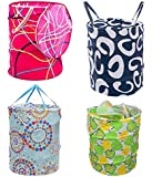 AMR Multipurpose Foldable and Collapsible Pop-Up Round Laundry Bag Basket with Zippered Lid(14x14x23-inches, Random…