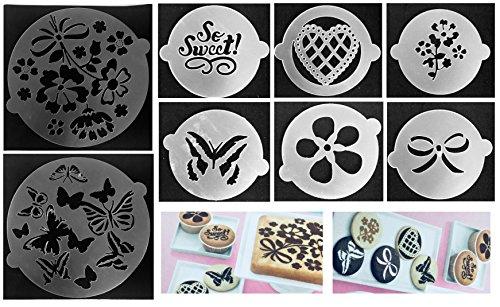 ROYAL HOUSEWARE 8 Stück Torten Schablonen Tatoo Kuchen Dekoration 8er Set Sommer Geburtstag Happy Bithday Frühling Blumen Herzen Muster Schmetterlinge Verzierung