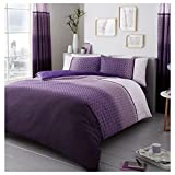 Lions Modern Urban Ombre Duvet Quilt Cover Polycotton Printed Bedding Set (Purple, King)