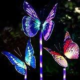 Luci solari da giardino a forma di farfalla,Specool 3 pezzi Luce di palo solare cambiamento di colore Luci giardino LED Fibra ottica Farfalle Decorazioni per feste all'aperto Prato Cortile Sentiero