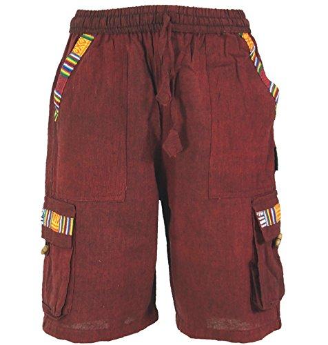 Guru-Shop Ethno Yogashorts im Goastyle, Herren, Weinrot, Baumwolle, Size:XL (56), Männerhosen Alternative Bekleidung