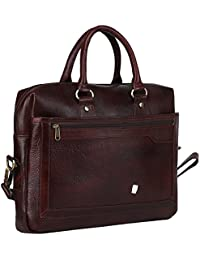 Leather Giant - 100% Pure Genuine Leather Laptop Messenger/Shoulder/Handbag/Office Bag(Chocolate)
