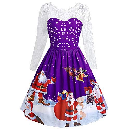 Beikoard Cocktail Kleider Damen Strickkleid Feinstrickkleid Kleid Langarm Weihnachten Frauen Langarm Spitze Patchwork Druck Vintage Kleid Party Kleid