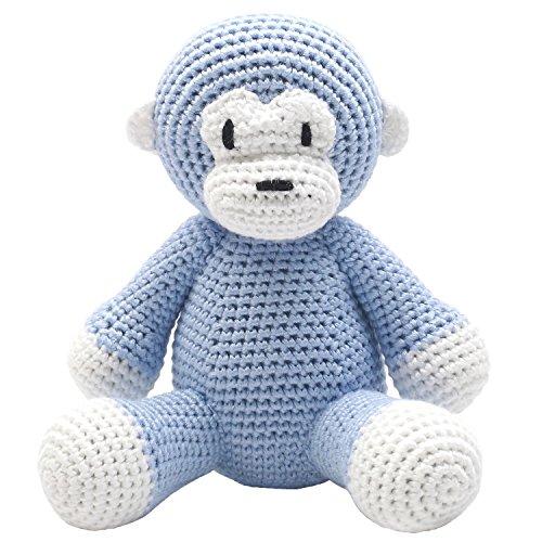 Handmade Baby Spieluhr gehäkelt Affe hellblau (Beutel Gehäkelte)