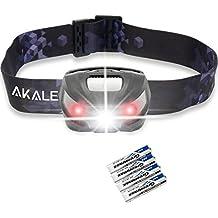 Akale LED Faro, 5 Modos de Iluminación ,150lm, ideal para acampar, funcionamiento, búsqueda, la pesca y otras actividades al aire libre Negro Impermeable Lámpara de cabeza