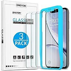 OMOTON Verre Trempé pour iPhone 11/ iPhone XR Film Protection Ecran avec Kit Installation Offert, Vitre Protecteur 9H Dureté, sans Bulles, 2.5D Arrondi pour iPhone 11/ iPhone XR 6.1 Pouces [3 Pièces]