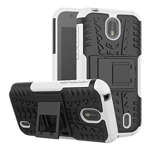 TenYll Nokia 1 Hülle, 2in1 Silikon Rückseite Schutzhülle,Heavy Duty Tough Rugged Shock Proof Case,Mit Halterung Doppeltem Schutz Cover für Nokia 1 -Weiß