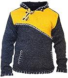Kreuz mit Reißverschluss Halsausschnitt super warm Pulli Style Pullover, Hippy Boho aus Wolle Kapuzenpulli - Gelb, Medium