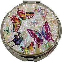 Madre di Pearl Farfalla Design doppio ingrandimento compatte borsa bellezza trucco tasca specchio