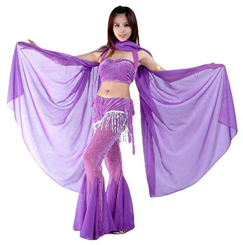 ZhiYuanAN Mujer Danza Del Vientre Chal Wrap Bufanda Velo Gasa Danza Accesorios Morado Oscuro