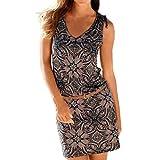 ESAILQ Damen Sommerkleid Leinen Baumwolle Blumendruck Minikleid Party Langarm Kleid Plus Größe(XL,Mehrfarbig)