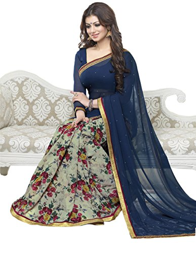 Sarees (Finix Fashion Women's Clothing Georgette Chiffon Printed Designer Wear Low Price Sale Offer buy online in Georgette Chiffon Material New Blue Color Printed Free Size Beautiful Saree Best Offer For Women Party Wear Fashion Designer Sarees)  available at amazon for Rs.699