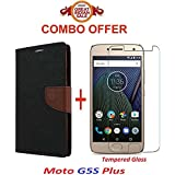 Shoppingmonk (COMBO OFFER) Moto G5S Plus / Moto G5s Plus / Moto G5s Plus / Moto G5s+ Flip Cover Case Wallet Style For Moto G5s Plus ( Black:Brown ) + Premium Tempered Glass Screen Protector - - - ( Transparent )