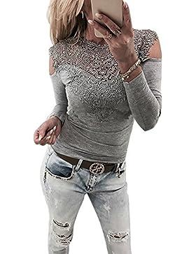 ShallGood Donna Primavera Sexy Trasparente Eleganti V Collo Senza Schienale Maglietta Camicia Sciolto Manica Lunga...