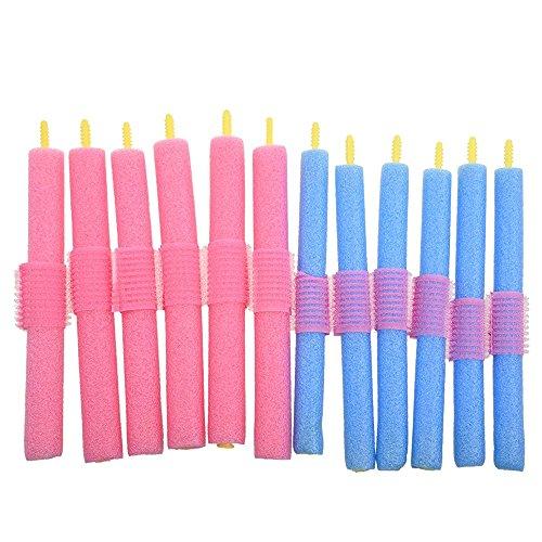 TOOGOO(R) 12 x Rouleau d'eponge en couleur aleatoire Bleu ou Rose