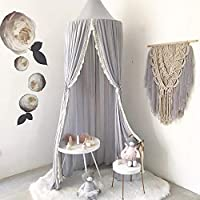 HOMIXES Bed Canopy for Children Round Dome Kids Cotton Mosquito Net Hanging Curtain Baby Indoor Outdoor Play Reading Tent Bedroom Nursery Decoration
