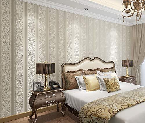 Retro Style Tapete 3d Dreidimensionale Relief Vertikalen Streifen Vliesstoff Wohnzimmer Tv Hintergrund Wand Dekoration Tapete Retro White Stripes - Libby Stripe