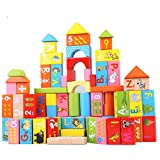 Classic Wooden Building Block Set - for Toddlers Preschool Age - Colored Small Wood Blocks for Boys and Girls - Basic Educational Build & Play Toy - 100 Pieces