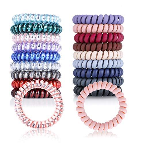 Elastici a spirale bobine per capelli fermacravatte per cordoncino telefonico per capelli elastici a spirale adatto per tutti i tipi di capelli (1 * 9 chiaro + 1 * 9 matte)