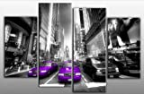 "Large New York Purple and Black Times Square Canvas Picture 4 pieces multi panel split canvas completely ready to hang hanging cord attached, hanging template included for easy hanging, hand made printed to order UK company 40"" width 28"" height (101 x 71 cm)"